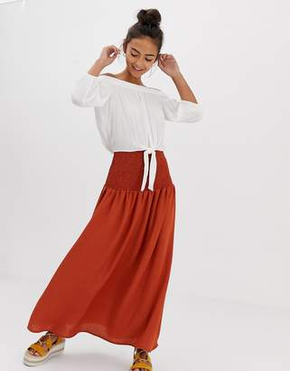 Asos DESIGN maxi skirt with shirred waistband