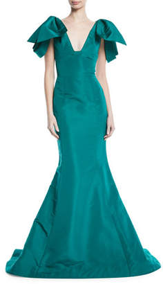 Oscar de la Renta V-Neck Bow-Shoulder Fitted Silk Faille Evening Gown