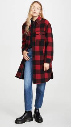 AVEC LES FILLES Buffalo Plaid Wool Shirt Jacket