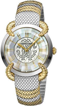 Roberto Cavalli 34mm Snake Watch w/ Bracelet Strap, Gold/Steel