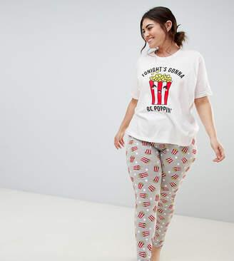 Asos DESIGN Curve tonights going to be poppin popcorn tee and legging  pyjama set ec3da3609