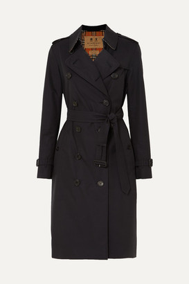 Burberry The Kensington Long Cotton-gabardine Trench Coat - Midnight blue