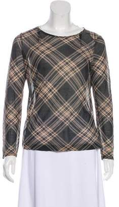 Dries Van Noten Sheer Plaid Top