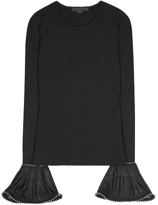 Alexander Wang Embellished poet-sleeved top