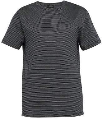 A.P.C. Jimmy Fine Stripe Cotton T Shirt - Mens - Dark Navy