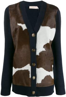 Tory Burch cow knit panelled cardigan