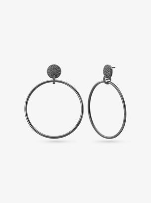 Michael Kors Black Rhodium-Plated Sterling Silver Pave Hoop Drop Earrings