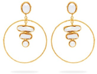 Sylvia Toledano - Baroque Mother Of Pearl Hoop Earrings - Womens - Pearl
