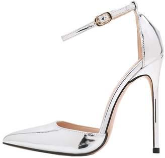 Lovirs Womens High Heel Pointed Toe Ankle Strap Stiletto Pumps Wedding Basic Shoes