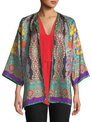 Etro Reversible Mixed-Print Silk Kimono Jacket
