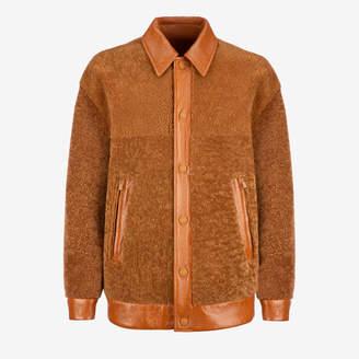 Bally Shearling Jacket Brown, Men's lamb shearling jacket in cowboy