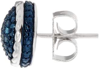 Affinity Diamond Jewelry Pave' Blue Diamond Stud Earrings, Sterling by Affinity