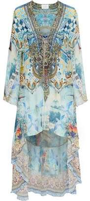 Camilla Tie The Knot Lace-Up Crystal-Embellished Printed Silk Crepe De Chine Kaftan
