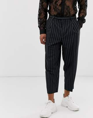 5c0ddeeeb4 Twisted Tailor wide leg trousers with double pleat with neon stripe in navy