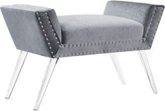Linon Alana Silver Vanity Acrylic Leg Bench