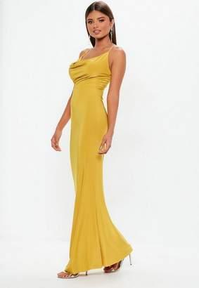 Missguided Mustard Slinky Cowl Maxi Dress