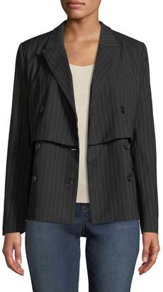 Nicole Miller New York Double-Breasted Pinstriped Blazer