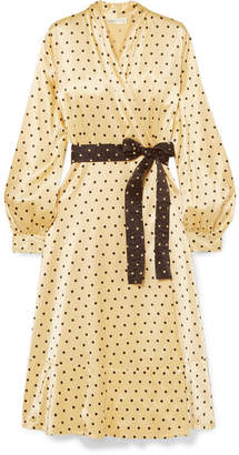 Stine Goya Reflection Polka-dot Satin Midi Wrap Dress