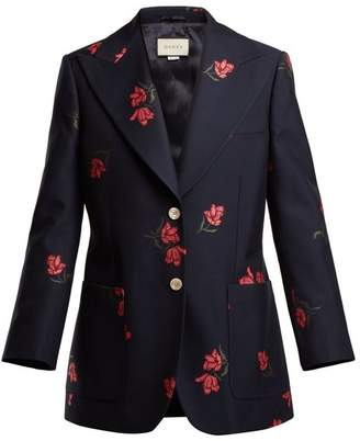 Gucci Rose Jacquard Cotton Blend Blazer - Womens - Navy Multi