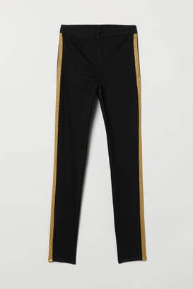 H&M Twill Pants with Side Stripes - Black