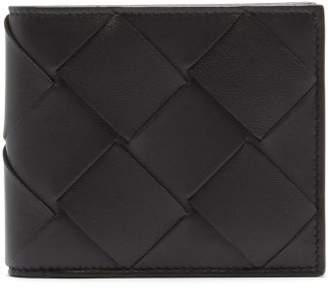 Bottega Veneta Intrecciato Bi Fold Leather Wallet - Mens - Black