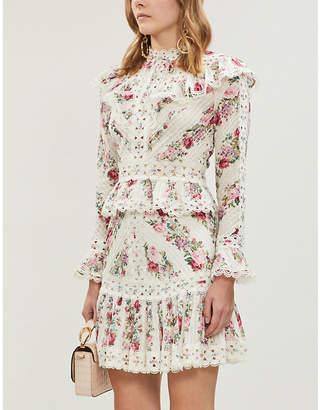 Zimmermann Honour floral-patterned cotton mini skirt