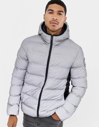 Good For Nothing hooded puffer jacket in reflective