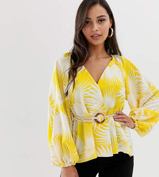 Asos DESIGN Petite long sleeve plunge top with kimono sleeve and rope belt in tropical print