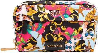 Versace Barocco Printmania-print Leather And Nylon Pouch
