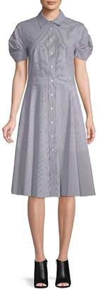 Donna Karan Women's Classic Cotton Shirtdress - Blue-white, Size 14