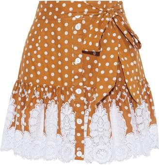 Miguelina Emy Crochet-trimmed Polka-dot Cotton Mini Skirt