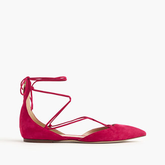 Suede lace-up pointed-toe flats $158 thestylecure.com