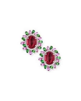 Alexander Laut Rubellite Cabochon Earrings with Diamonds, Pink Sapphire & Tourmaline