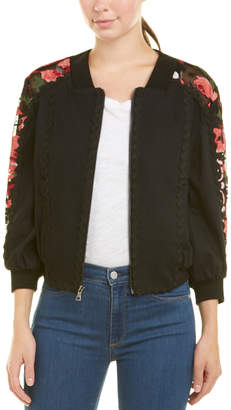 BCBGMAXAZRIA Mixed Media Embroidered Jacket