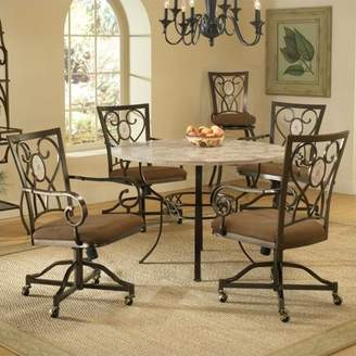 Hillsdale Furniture Brookside 5-Piece Round Dining Set with Oval Back Caster Chairs