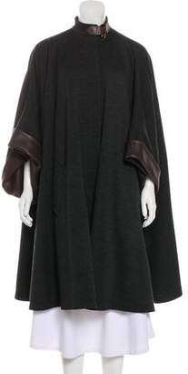 Hermes Wool Leather-Trimmed Coat