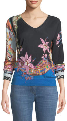 Etro V-Neck Lily-Print Silk-Cashmere Sweater