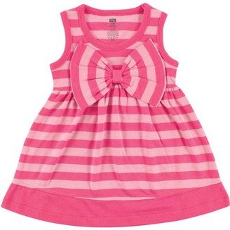 Hudson Baby Newborn Baby Girls Dress w/ Big Bow - Pink Stripe