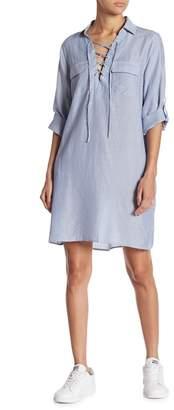 Gilli Striped Lace-Up Shirtdress