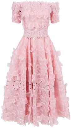 Costarellos Butterfly Lace Midi Dress