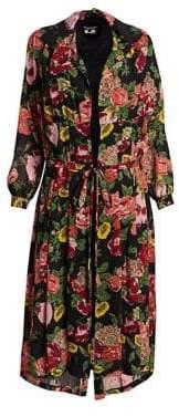 Junya Watanabe Georgette Floral Robe Midi Dress