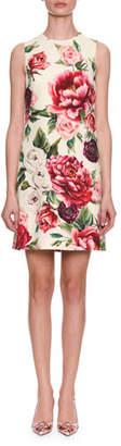 Dolce & Gabbana Sleeveless Rose & Peony Print Wool-Crepe Shift Dress