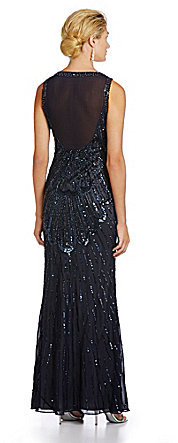 JS Collections Long Art Deco Beaded Gown