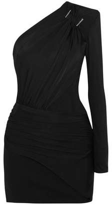 Thierry Mugler One-Shoulder Embellished Stretch-Jersey Mini Dress