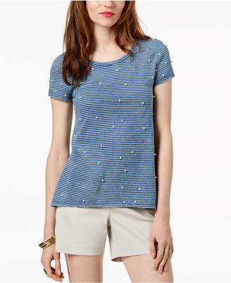 INC International Concepts I.n.c. Striped Embellished T-Shirt, Created for Macy's