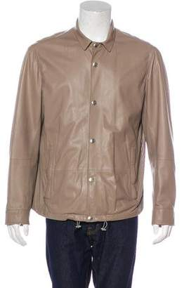 Brunello Cucinelli Leather Snap-Front Jacket