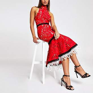 River Island Forever Unique red lace high neck midi dress