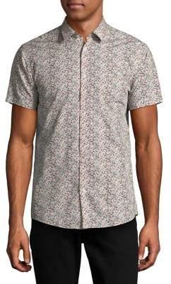 Selected Slim-Fit Fine Floral Short-Sleeve Shirt