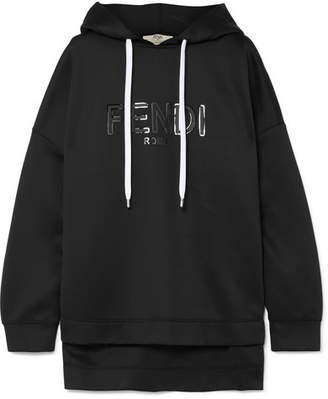 Fendi Roma Printed Neoprene Hooded Top - Black