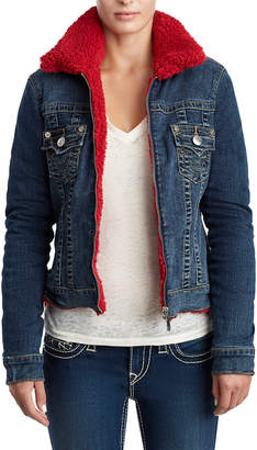 True Religion WOMENS SHERPA DENIM TRUCKER JACKET